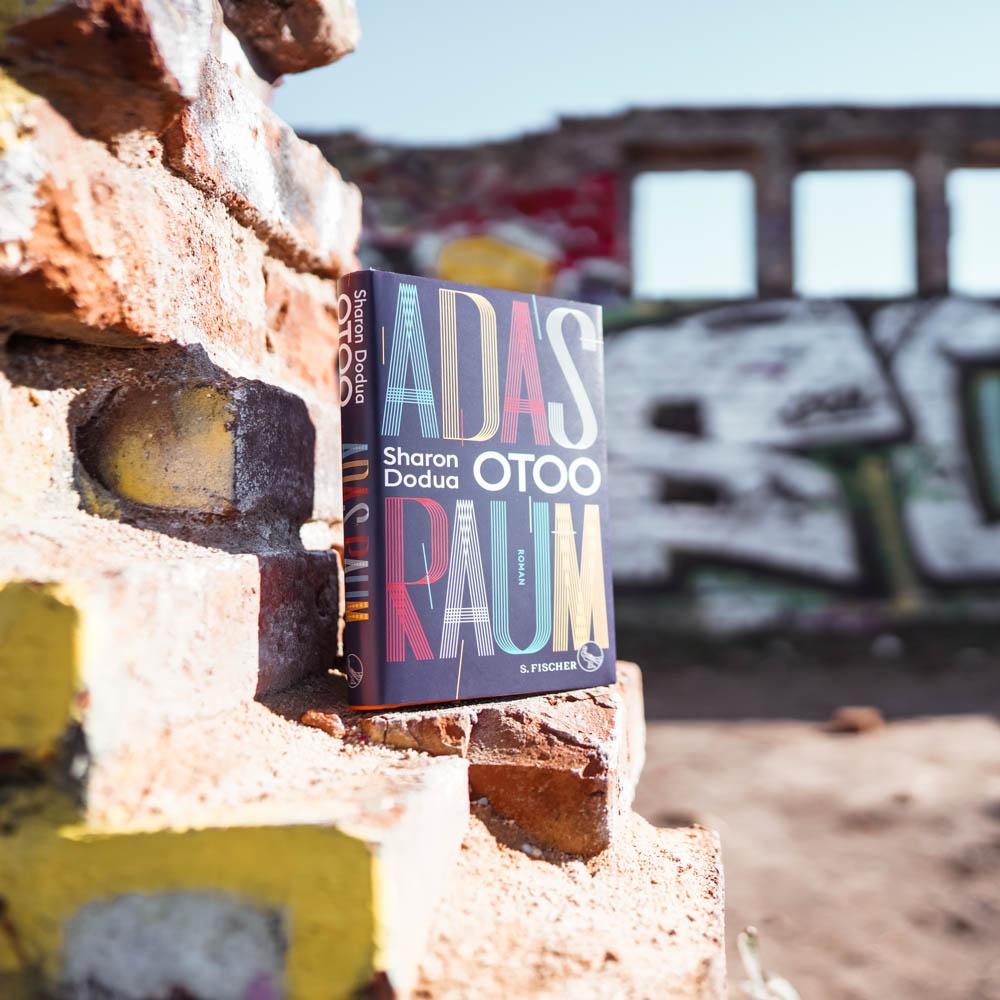 """Das Buch """"Adas Raum"""" steht auf einer herausgebrochenen Mauerecke, dahinter ist ein zerfallener Raum unscharf erkennbar."""